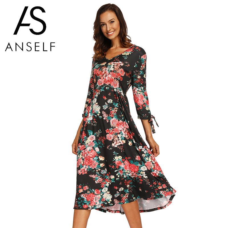 e007fe5ec8 New Fall Fashion Women Vintage Bohemian Midi Dress Floral Print V-Neck 3/4
