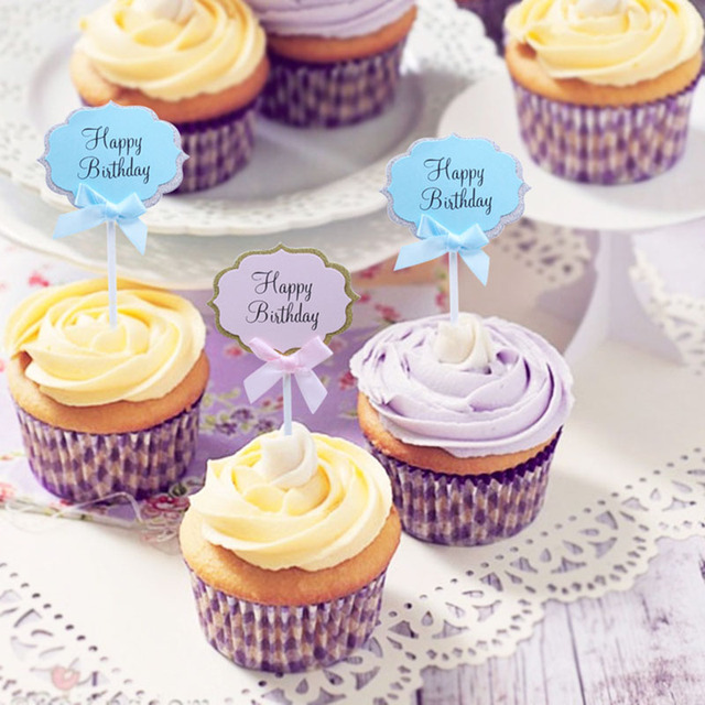 Aliexpress Buy 5 Pcs Happy Birthday Cupcake Cake Toppers Blue
