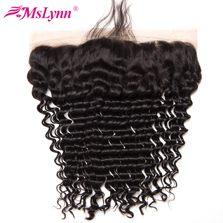 Mslynn Hair Brazilian Deep Wave Closure Pre Plucked Lace Frontal Closure With Baby Hair Non Remy