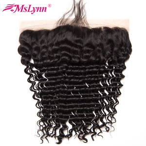 """Mslynn Hair Brazilian Deep Wave Closure Pre Plucked Lace Frontal Closure With Baby Hair Non Remy Human Hair Free Part 8""""-24"""""""