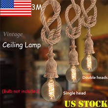 E27 Party DIY Pendant Lamp Retro Vintage Edison Hemp Rope Ceiling Light Fixture Retro Twine Single Head or Double Heads(China)