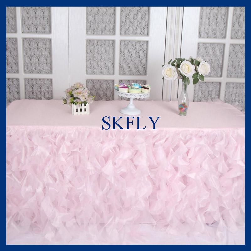 CL010G joli mariage 6ft rectangle 90 ''* 132'' rose pâle rose bouclé saule nappe-in Nappes from Maison & Animalerie    1