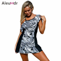 Aleumdr Swimsuit Bikinis Women 2017 One Piece Bathing Suit One Shoulder Swim Dress With Shorts LC410210