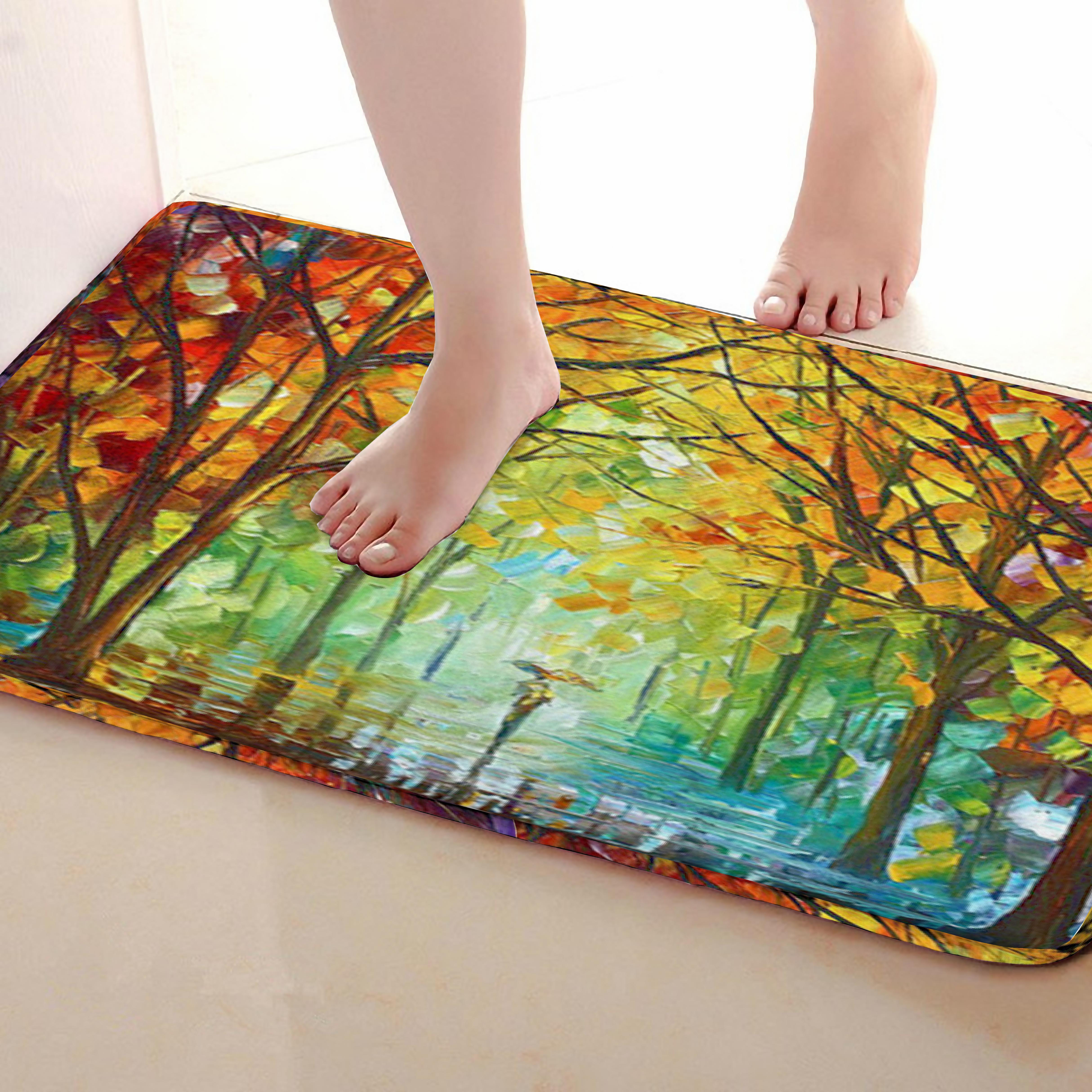 Forest Style Bathroom Mat,Funny Anti Skid Bath Mat,Shower Curtains Accessories,Matching Your Shower Curtain