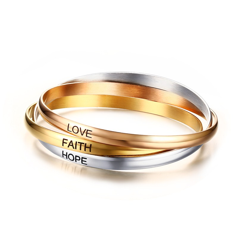 Mprainbow Women Stainless Steel pulseiras Tri Tone Interlocked Rolling Bracelet with Laser LOVE HOPE FAITH Inspirational Bangle ...