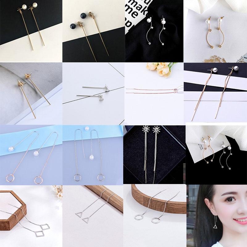 Sale 1 Pair New Simple Silver/Golden Earrings For Women Long Geometric Crystal Dangle Ea ...