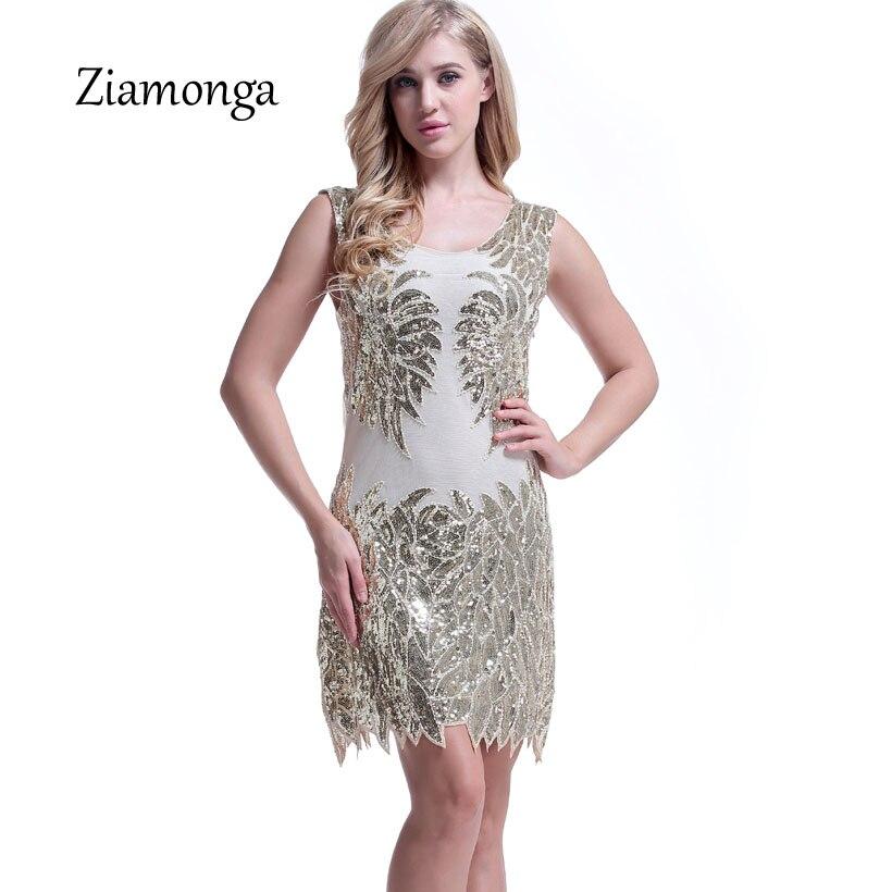 Ziamonga 2018 Vintage Dress 1920s Sequin Charleston Formal Dress