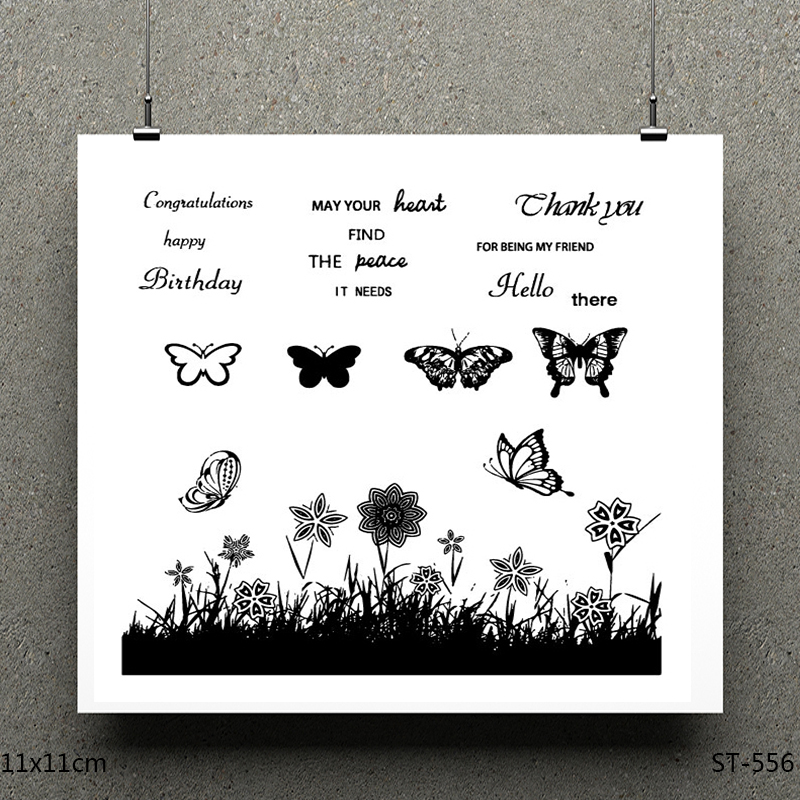 AZSG Various Beautiful Butterflies Silicone Clear Stamps For Scrapbooking DIY Clip Art Card Making Decoration Stamps Crafts in Stamps from Home Garden