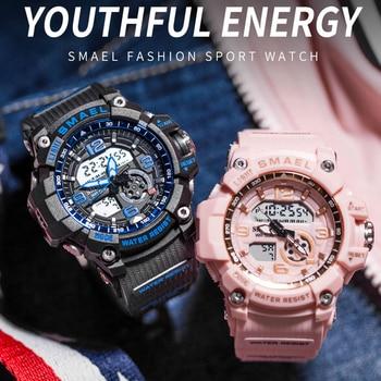 SMAEL Fashion Women Sport Watches Waterproof Ladies Student Multifunctional Wristwatch LED Digital Quartz White Watch Girl Clock 1