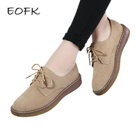 EOFK Spring Autumn Women Genuine leather Shoes Woman Suede Leather Flat Shoes Lady Casual Lace Up Flats Female Footwear