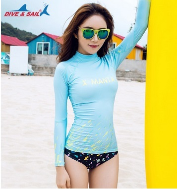 cbd16f420e5 New Sexy Women Rashguard Shirts Nylon Swimming Suit Long Sleeve Diving Tops  Bathing Beach Wear Quick-Dry Wetsuits Surfing Shirts