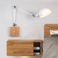 nordic wooden adjustable bedside wall lamp modern indoor led reading light study living room sconce vanity light home decoration
