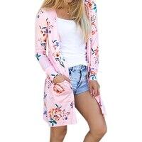 Summer Coat Woman Kimono Jacket Casual Floral Cardigans Jackets Long Sleeve Loose Coat Tops Tee Tunic Mujer Femme 2017 WS1105U