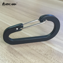 20 pcs 6cm Outdoor Camping Climbing Carabiner D Shape Mountaineering Buckle Fast Hang Mini Hook Aluminum Alloy black EDC