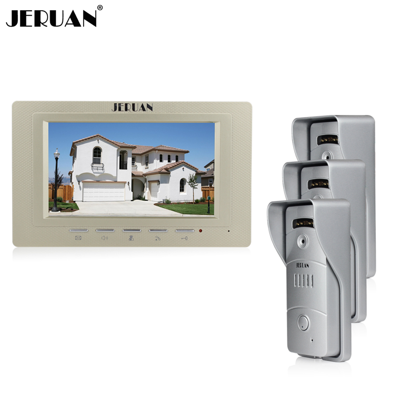 JERUAN Home wired 7 inch LCD screen video door phone intercom system 1 Gold monitor + waterproof metal pinhole Cameras In stock jeatone video phone home intercom audio doorbell 3 7mm pinhole cameras with 4 indoor monitor screen wired office intercom