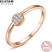 ELESHE 100 Real 925 Sterling Silver Rose Gold Color Cubic Zirconia Round Finger Rings For Women