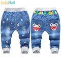 Jiuhehall 2016 New Fashion Kids Jeans Elastic Waist Straight Cartoon Jeans Denim Seventh Pants Retail Jeans For Kids 2-5 Y WB141