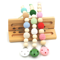 1 PC SALE 3 COLOR TO CHOOSE Natural Baby Pacifier Clip Dummy Holder Crochet Beads Girl
