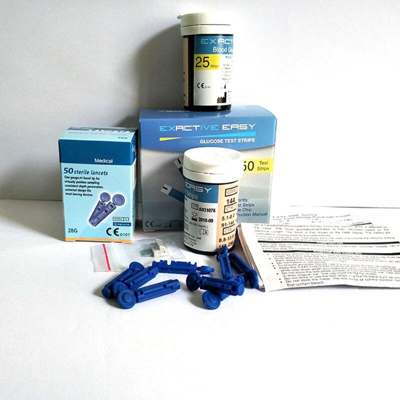 Exactive легко 50 Планшеты Тесты полоски 50 крови ланцеты крови Glucosemeter специальные Тесты Бумага неудержимые необходимое устройство тест-полоски ...