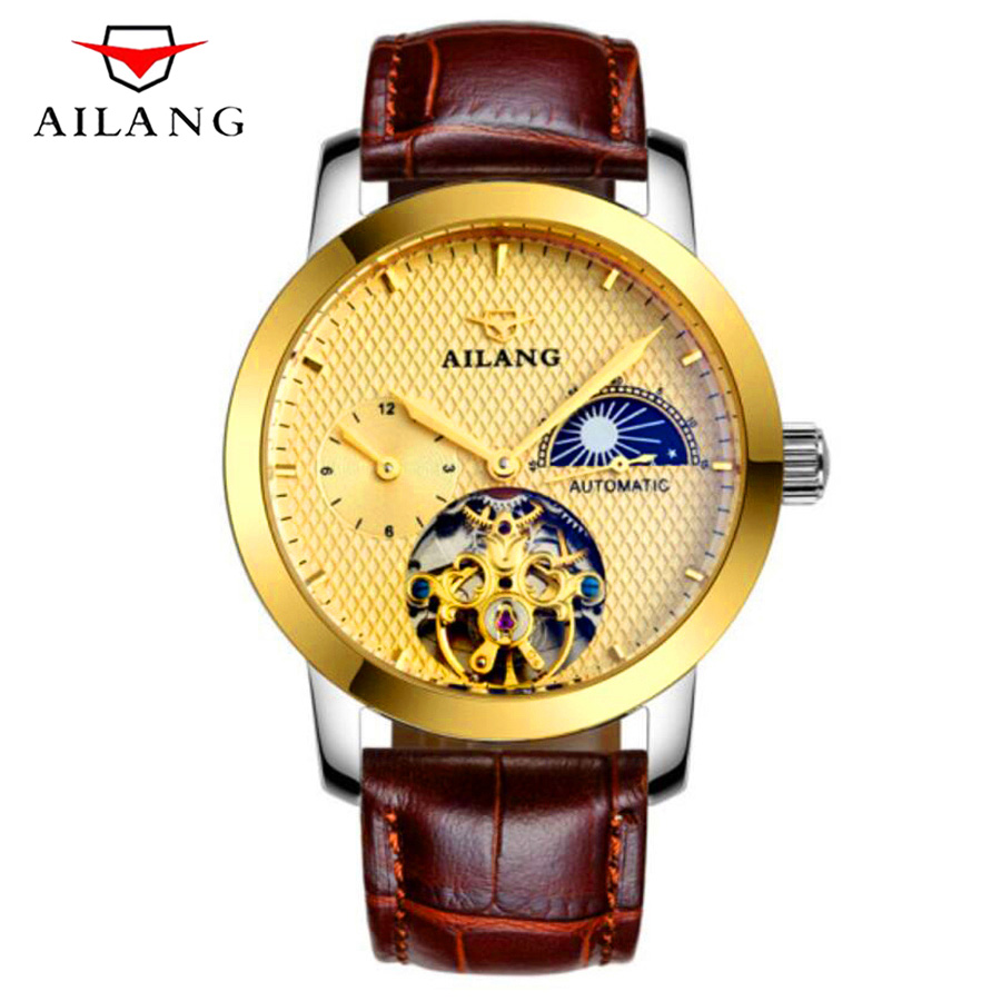 Top Luxury Brand Classic Design Waterproof Tourbillon Mechanical Watch Genuine Leather Strap Sports Men's Skeleton Watches New mens mechanical watches top brand luxury watch fashion design black golden watches leather strap skeleton watch with gift box