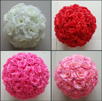 40cm 16 Dia Elegant Artificial Roses Flowers Balls Hanging Kissing Ball 16 Colors For Wedding Party Decoration Supplies