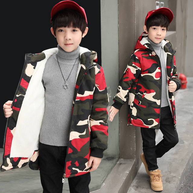 e9d7e189 Camouflage Winter Jackets for Boys Kids Thick Hooded Polar Fleece Jacket  Children Warm Outerwear Winter Clothes Park Kit for Boy