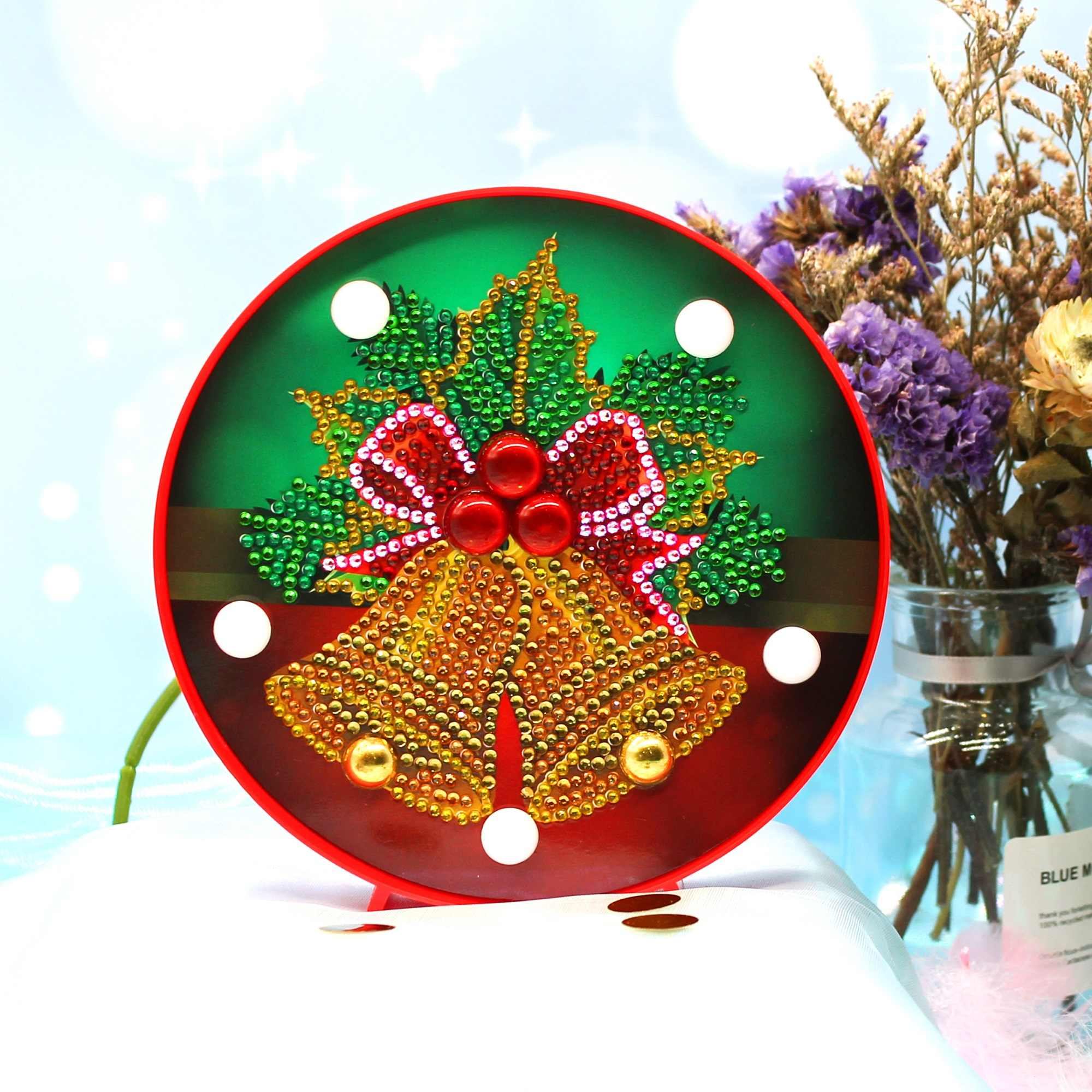 Mini Diy Diamond Painting Bell Snowman Led Light Embroidery Kits With Frame Crystal Beads Round Circle Small Gift ZXD047