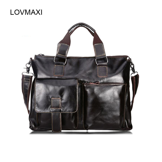 New Man's genuine leather shoulder bags fashion leather bag Men business messenger bags pad bags