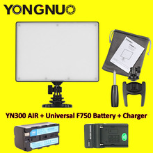 YONGNUO YN300 YN-300 Air LED Camera Video Light 3200K-5500K with NP-F750 Decoded Battery + Charger for Canon Nikon & Camcorder