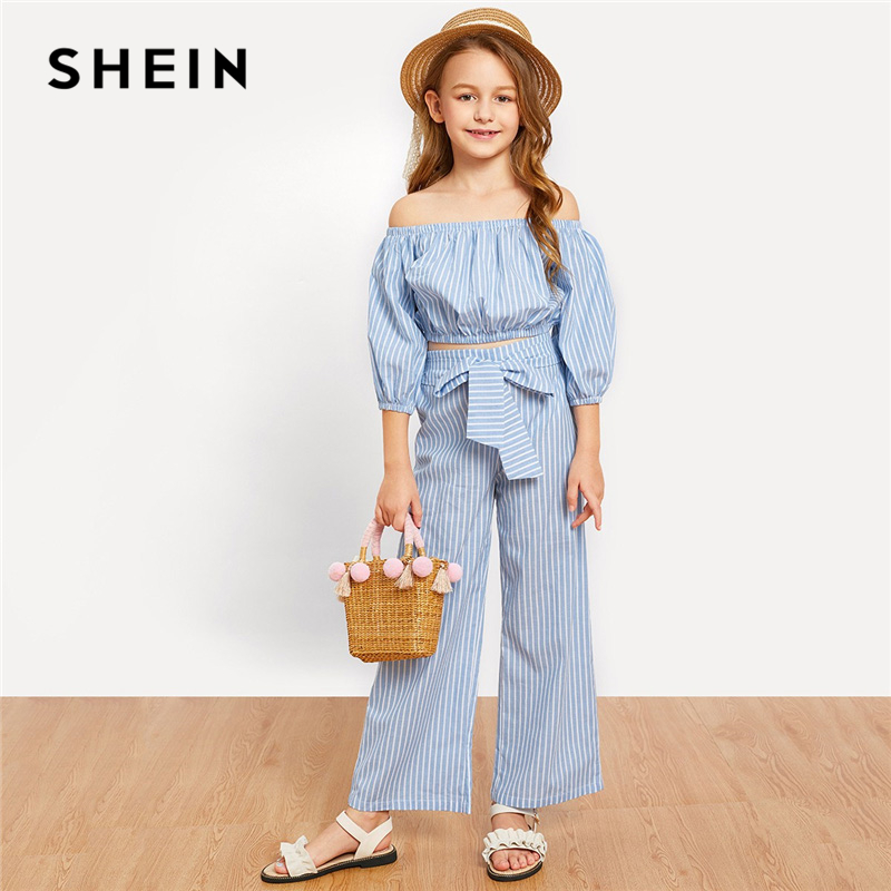 SHEIN Kiddie Blue Off the Shoulder Striped Top And Knot Pants Set  Girls Clothing Set 2019 Spring Long Sleeve Casual Girl Suit puff sleeve crop top and wide leg pants set