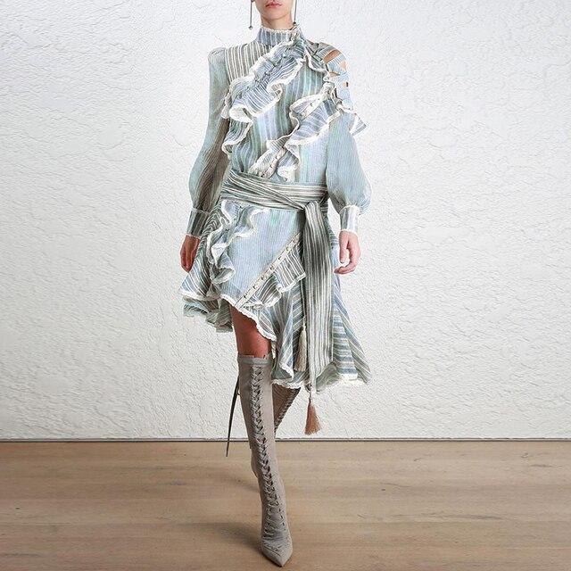 Women Asymmetry Ruffled Shirt Dress Summer Lantern Sleeve Long Casual Striped Print Work Club Dresses Fashion Beach Boho Dress