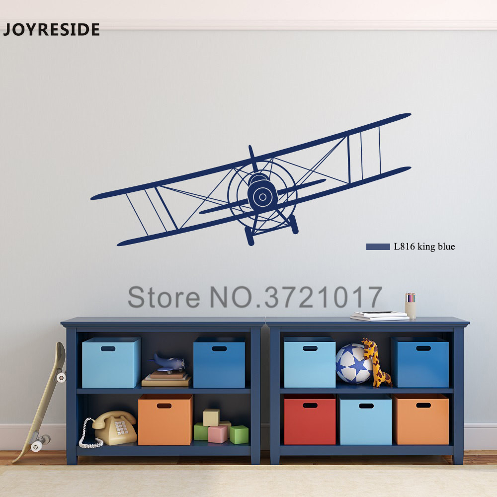 JOYRESIDE Biplane Airplane Wall Decal Vinyl Sticker Decor For Kids Boys Nursery Living Room Design Bedroom Decoration DIY XY031 image