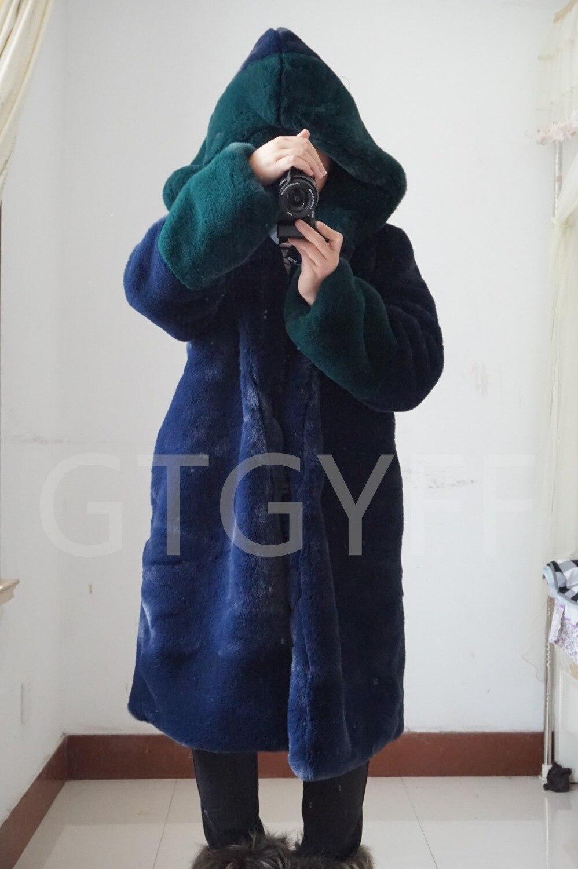 À Chaud De Éco Bleu Furry Capuchon Dames Gtgyff Avec Mode Capuche Manteau Vert Bloc Marine Manteaux Femmes Couleur Long Fourrure Faux Bqtwn4xWgf