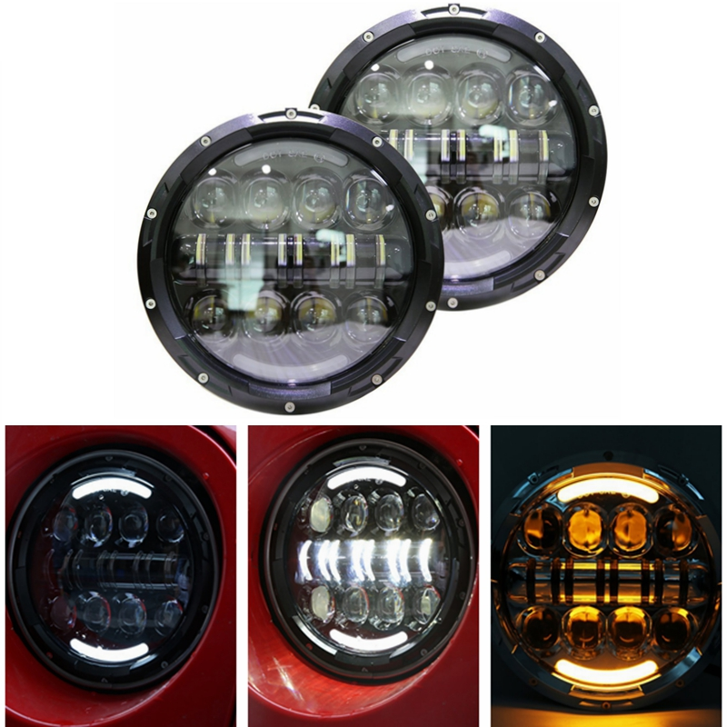 7 LED Headlight for Jeep Wrangler JK Headlamp with Halo Angel Eye & Turn Signal Lights & DRL unionlux 7 led headlight with white halo angel eye ring drl