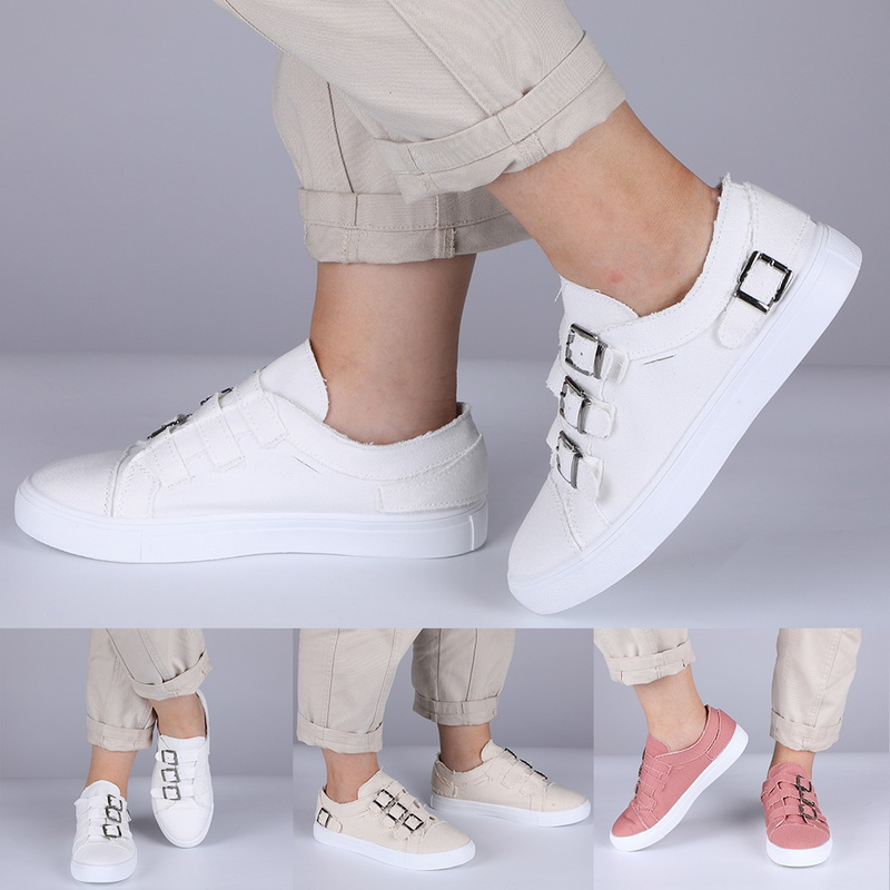 Women's Skateboarding Shoes Metal Button Flat Shoes Fashion Casual Outdoor Athletic Shoes Comfortable Footwear Size 35-43 Women(China)