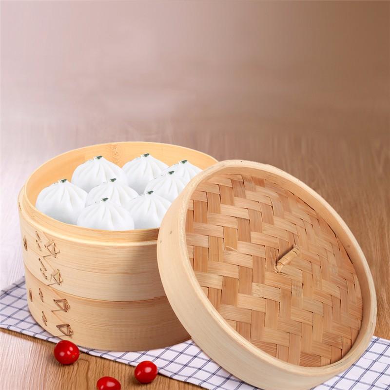 Прочная кухонная утварь 2 яруса 8 Здоровая Бамбуковая Пароварка тусклый сум корзина рисовая сума паста плита набор с крышкой китайская кухо