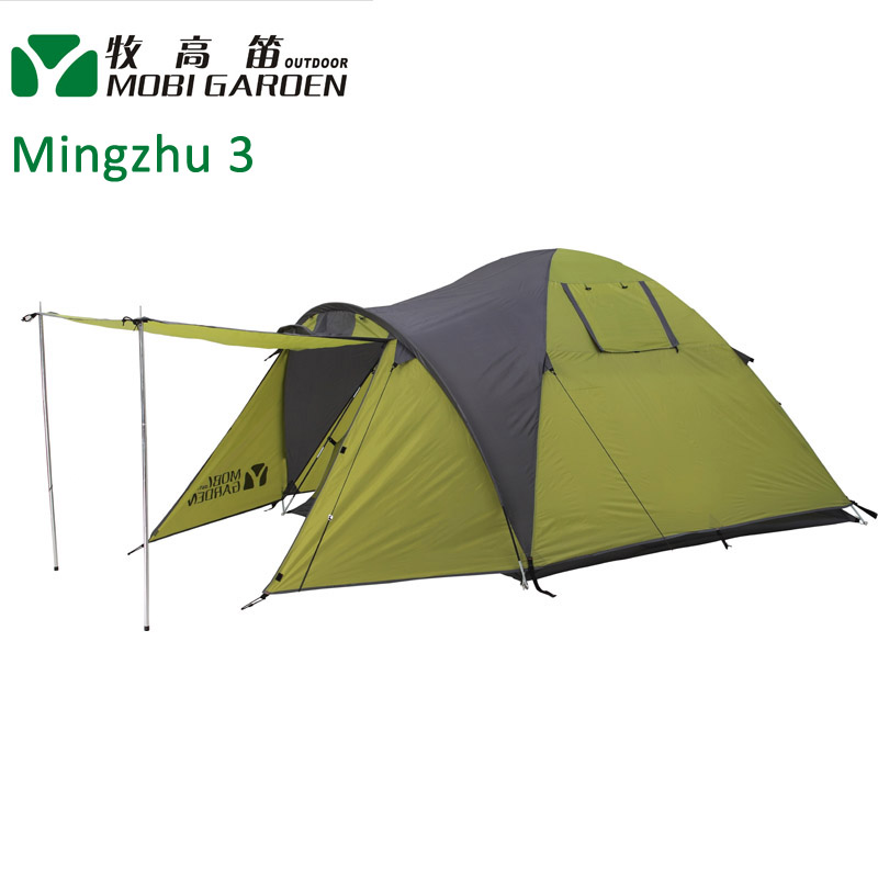 Mobi Garden Mingzhu 3 people 3-season Double layer Tent two Door Outdoor Leisure Family Camping Tent mobi garden outdoor camping tent 4 seasons double layer aluminum tent two rooms big camping tent super large 3 4 persons tent