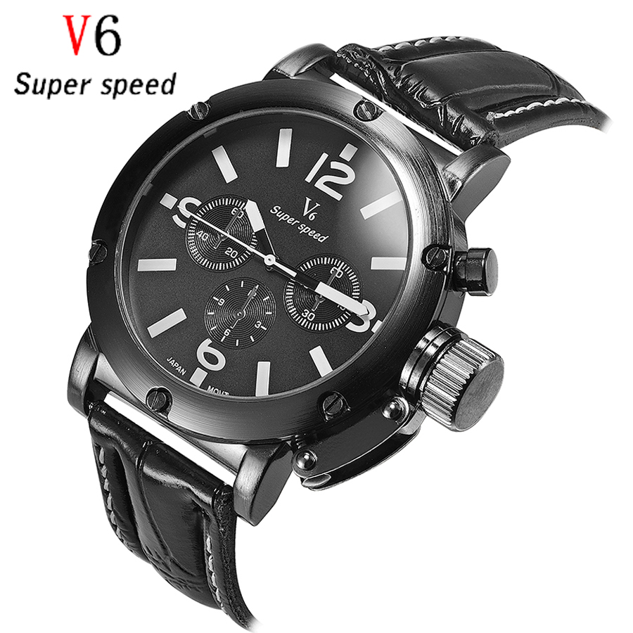 2016 Top Quality V6 Sport Brand Luxury Watch Men Clock Fashion Casual Big Dial Quartz Wrist Watches Boy Relogio Masculino big size dial plate fashion men s quartz leather watch wrist strap watches 8 type optional top quality