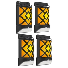 4Pac Solar Flame Wall Light 12 Led Motion Sensor Outdoor Waterproof Lamp For Garden Pathway Patio