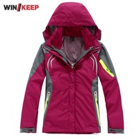 Top Brand Women Two Pieces Outdoor Hiking Windbreaker Waterproof Thermal Climbing Coat Women Hoodie Jacket Fishing