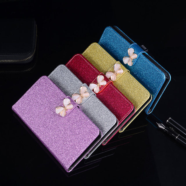 huge selection of 3bf40 8f7f9 US $3.73 15% OFF Glitter Coque for HTC Desire 530 Case Leather Soft  Silicone Back Cover Butterfly Jewelled Cute Floral Original Flip Phone  Case-in ...