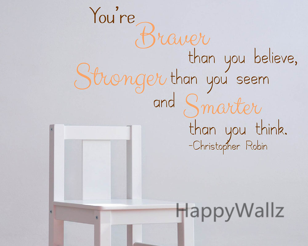 You Are Braver Stronger Smarter Motivational Quote Wall Stickers Decorative DIY Inspirational Quotes Office Wall Decal Q178