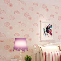Pink Purple Wallpaper Floral Modern Home Decor Wallpaper Rolls European Style Non Woven Modern Wallcovering Textile