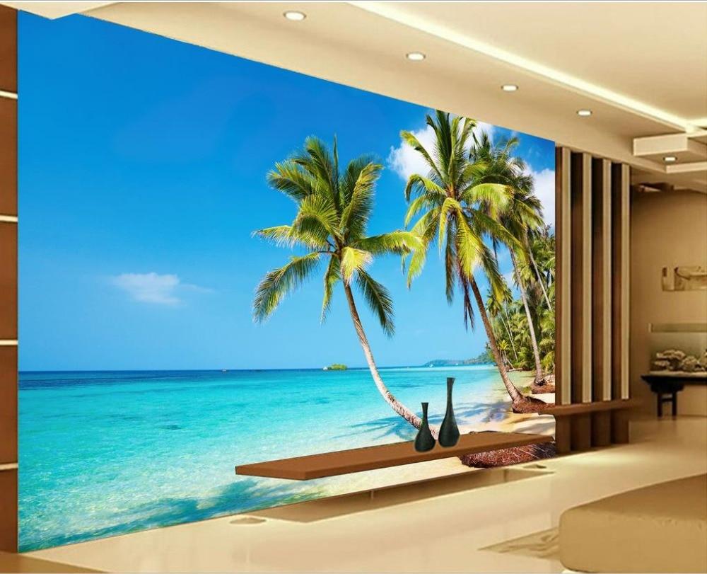 Sun Sea Beach Palm TV Backdrop 3d Wallpaper Landscape Home
