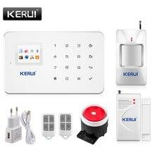 Kerui G18 Built-in antenna alarm PIR Motion Detector Wireless Smoke Flash Siren LCD GSM SIM card House security Alarm system