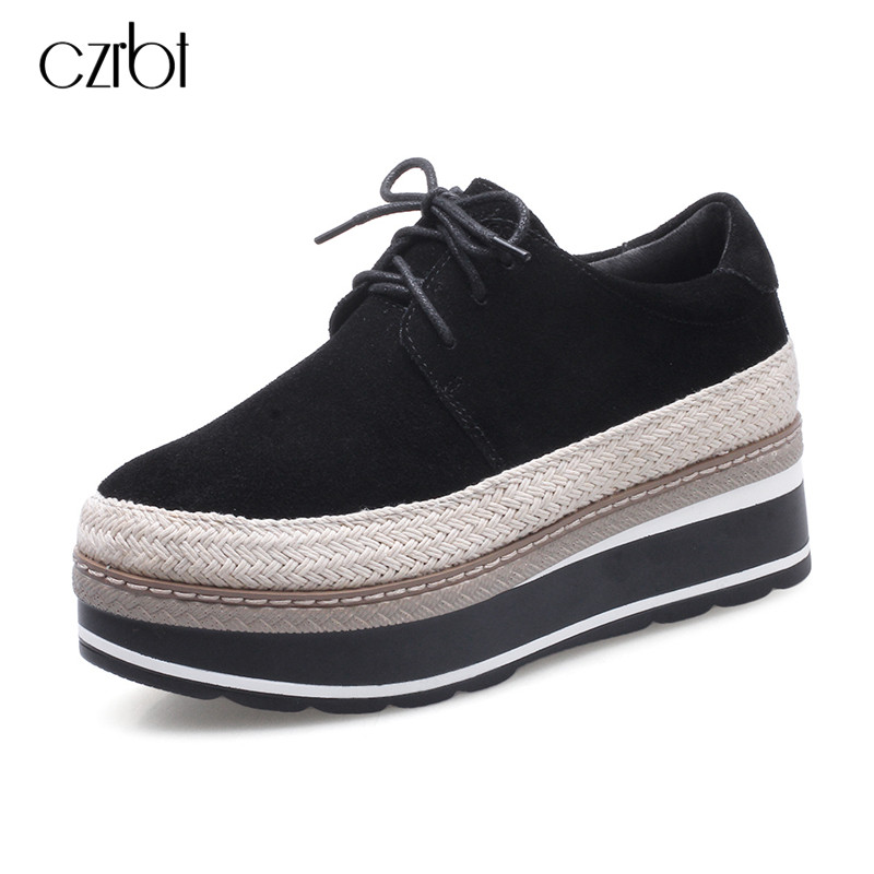 CZRBT Straw Weaving Cow Suede Flat Platform Shoes Women Fashion Lace Up Round Toe Casual Flat Shoes Genuine Leather Black Flats bandana buff skull