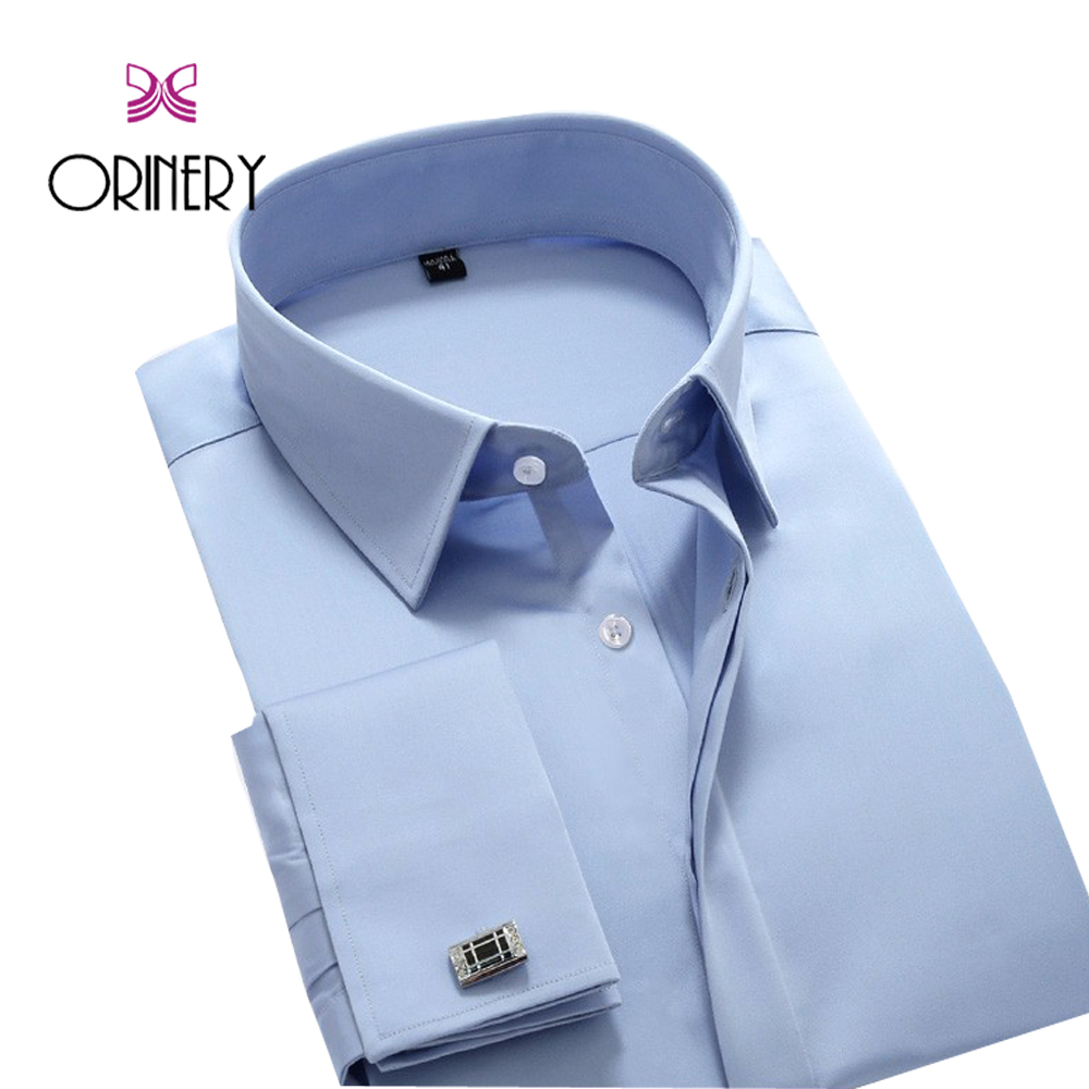 ORINERY Hot Sale Solid Dress Shirt Men New Designer French Cuff Shirt With Cufflinks Fashion Camisa Masculina Wedding Shirt