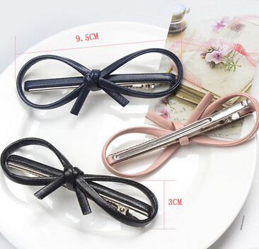 New Arrival Women's Elegant  PU Leather Bow Hairpins Girl's Lovely Fashion Hair Clips Hair Korea Accessories 2017
