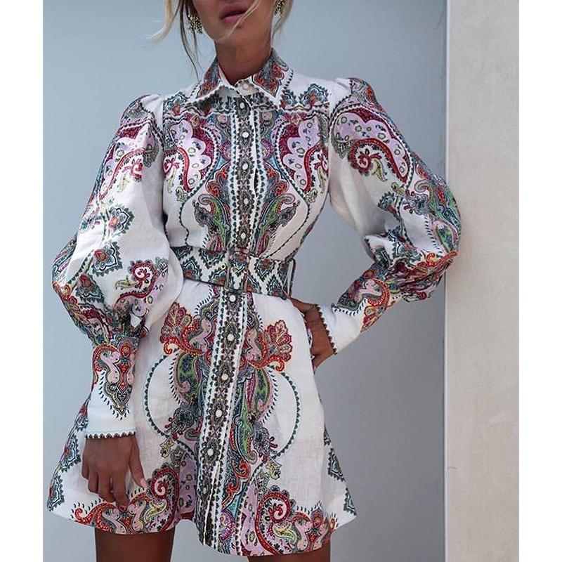 2019 new arrive floral print long sleeve mini dress high quality