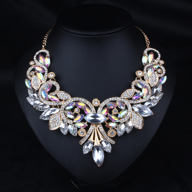 Luxury necklace 2015 fashion statement necklace&pendant necklace high quality choker necklace link chain with crystal N416